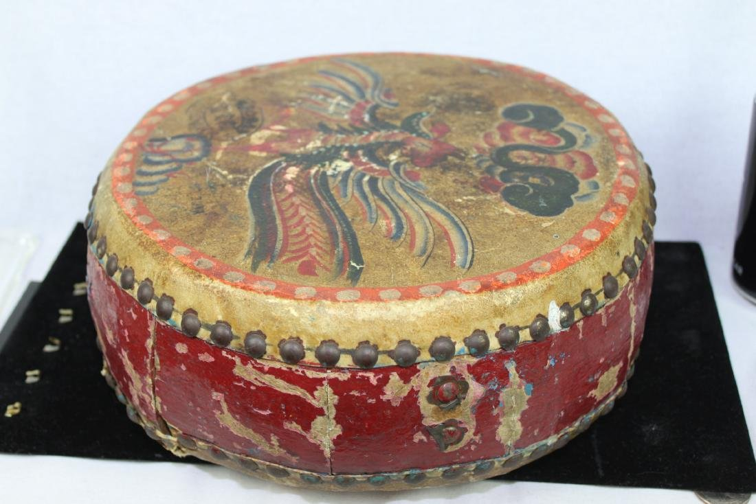 Antqiue Chinese Hand Leather Drums - 2