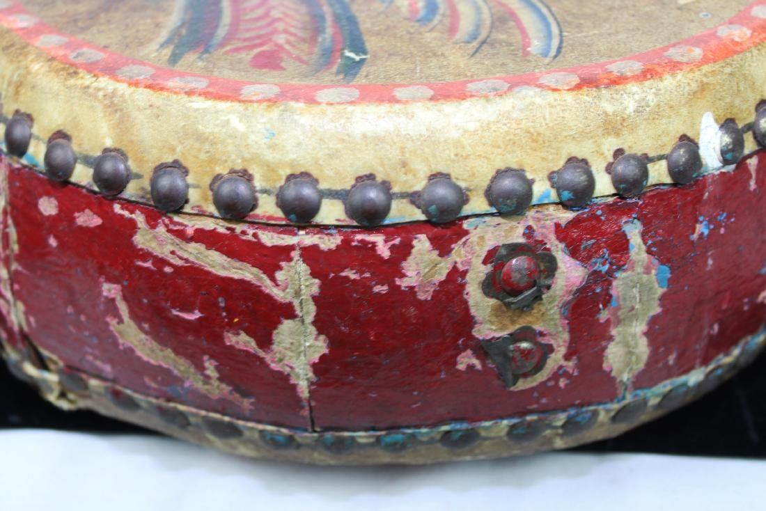 Antqiue Chinese Hand Leather Drums - 3