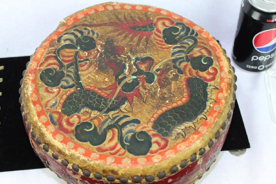 Antqiue Chinese Hand Leather Drums - 9