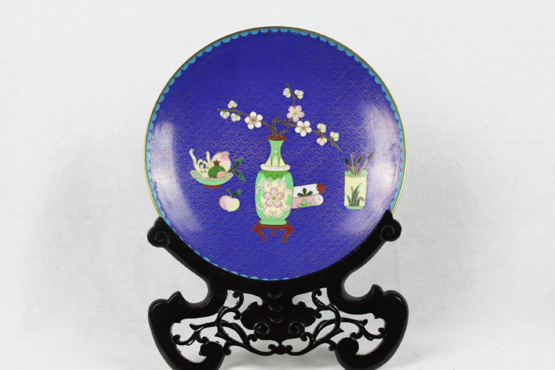 Chinese Cloisonne Plate with Wood Base - 2