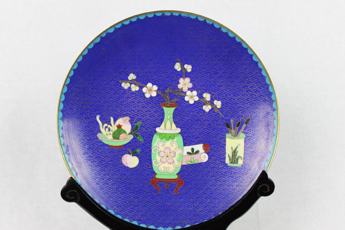Chinese Cloisonne Plate with Wood Base - 3