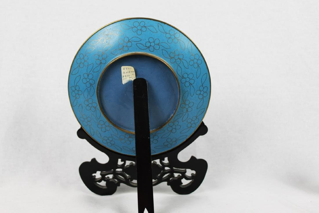 Chinese Cloisonne Plate with Wood Base - 5