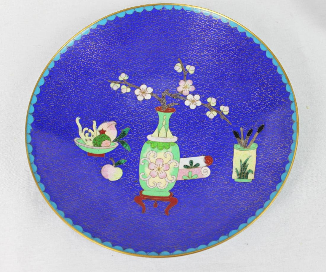 Chinese Cloisonne Plate with Wood Base - 8