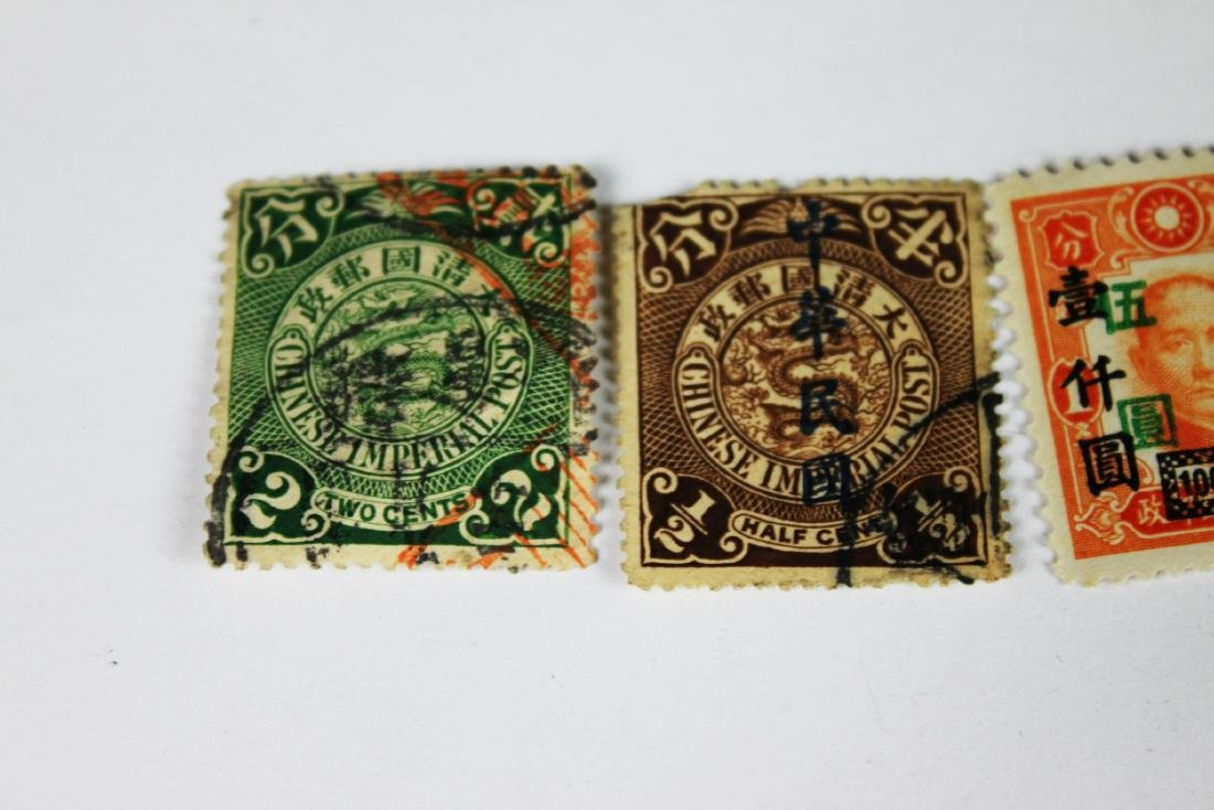 5 Antique Chinese Dragon Stamps 1900s - 2