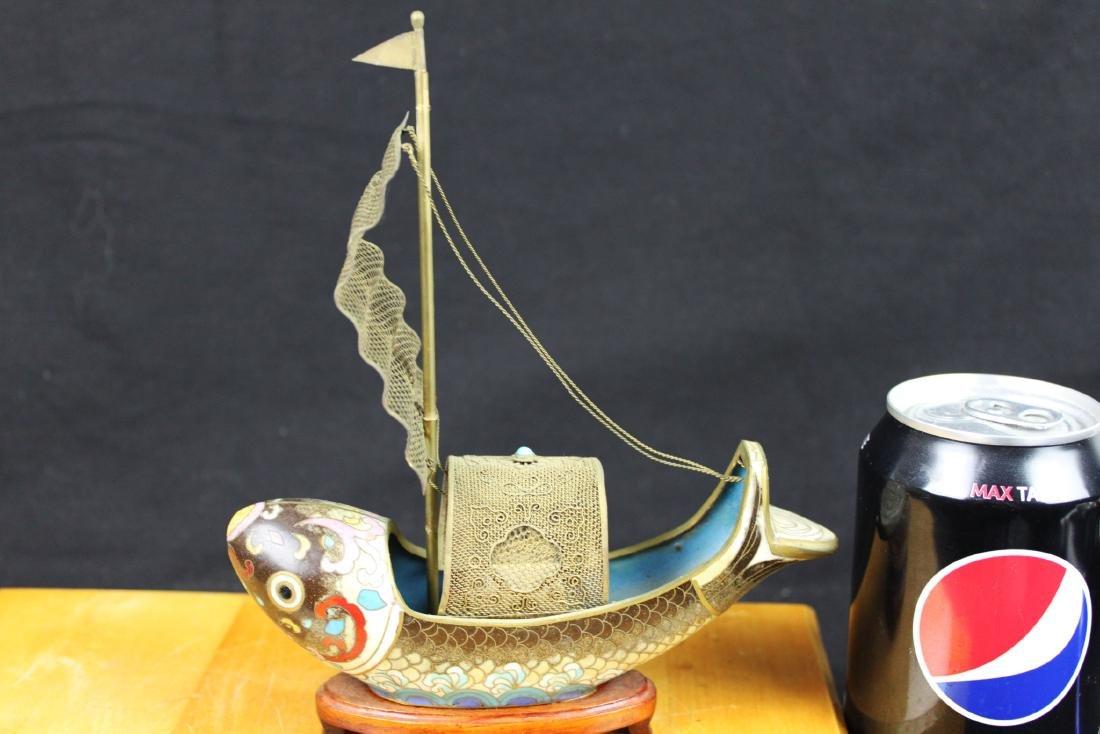 Antique Bronze Cloisonne Fish Shape Boat