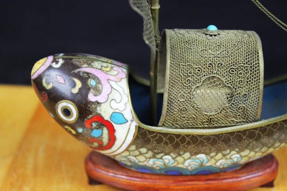 Antique Bronze Cloisonne Fish Shape Boat - 4