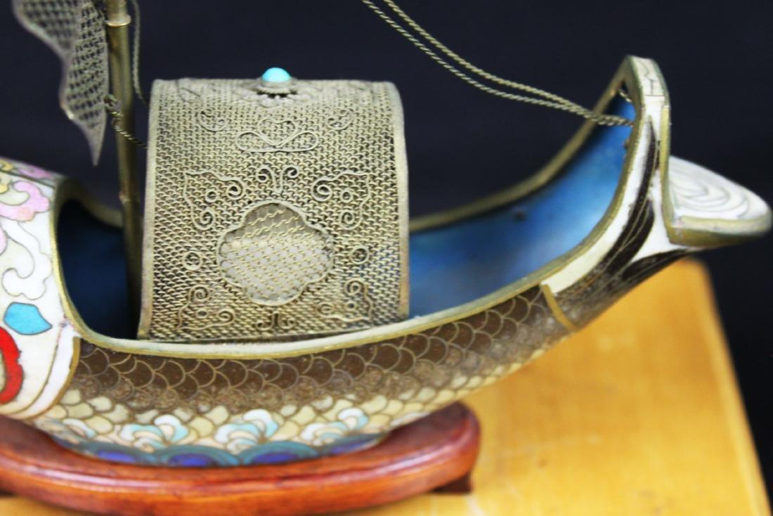 Antique Bronze Cloisonne Fish Shape Boat - 5