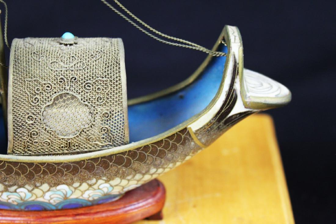 Antique Bronze Cloisonne Fish Shape Boat - 6