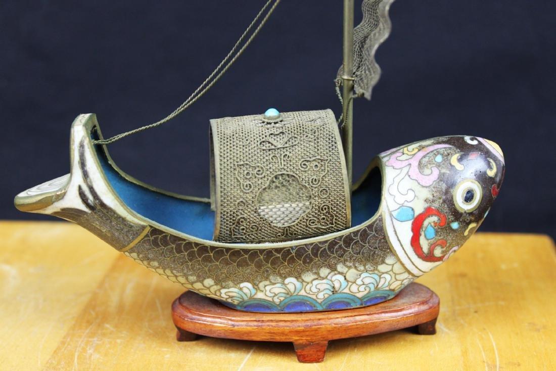 Antique Bronze Cloisonne Fish Shape Boat - 8
