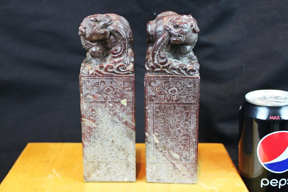 Two Chinese Hand Carved Stone Seal