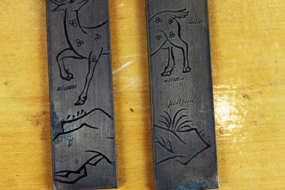 Two Chinese Hand Carved Bronze Painting - 5