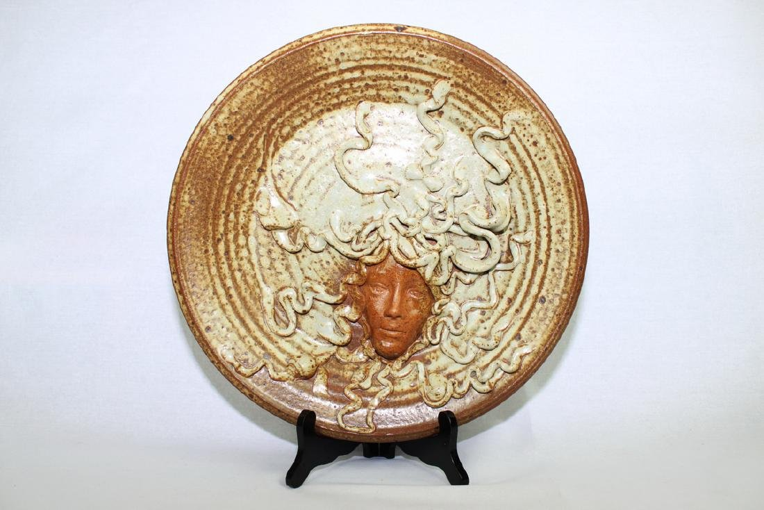 Large American Pottery Plate with Wood Stand