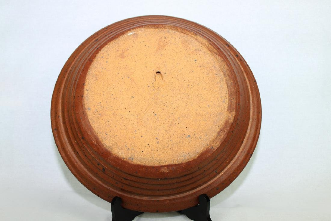 Large American Pottery Plate with Wood Stand - 4
