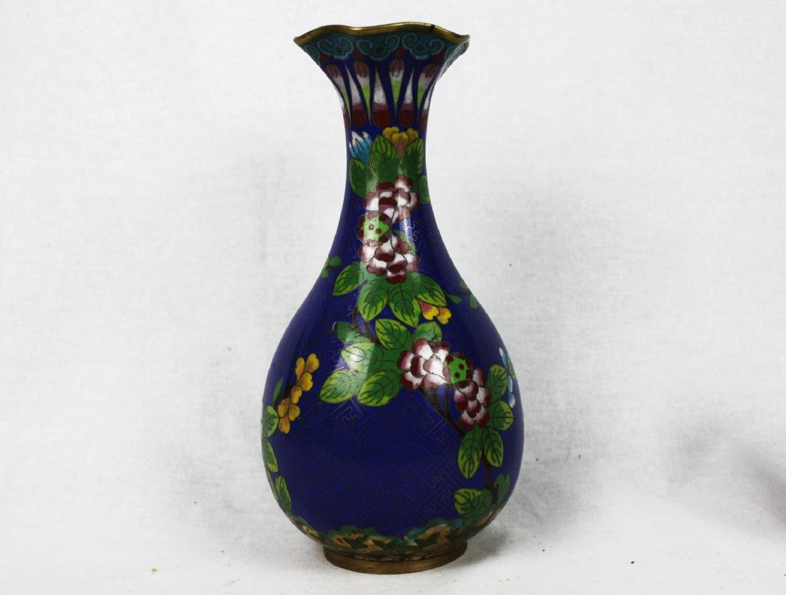 Chinese Blue Cloisonne Vase - 4