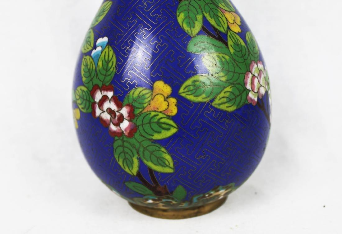 Chinese Blue Cloisonne Vase - 6