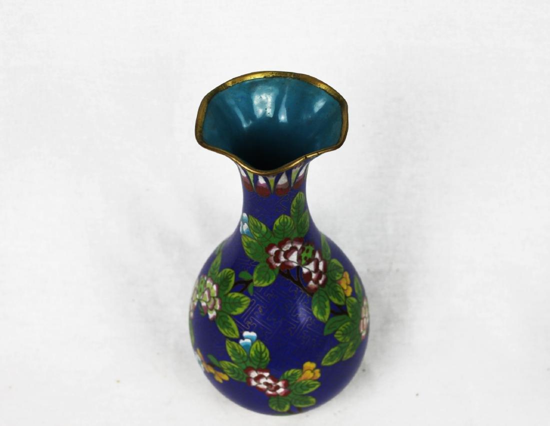 Chinese Blue Cloisonne Vase - 7