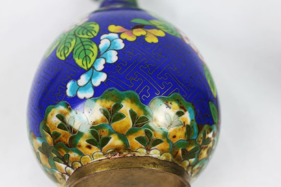 Chinese Blue Cloisonne Vase - 8
