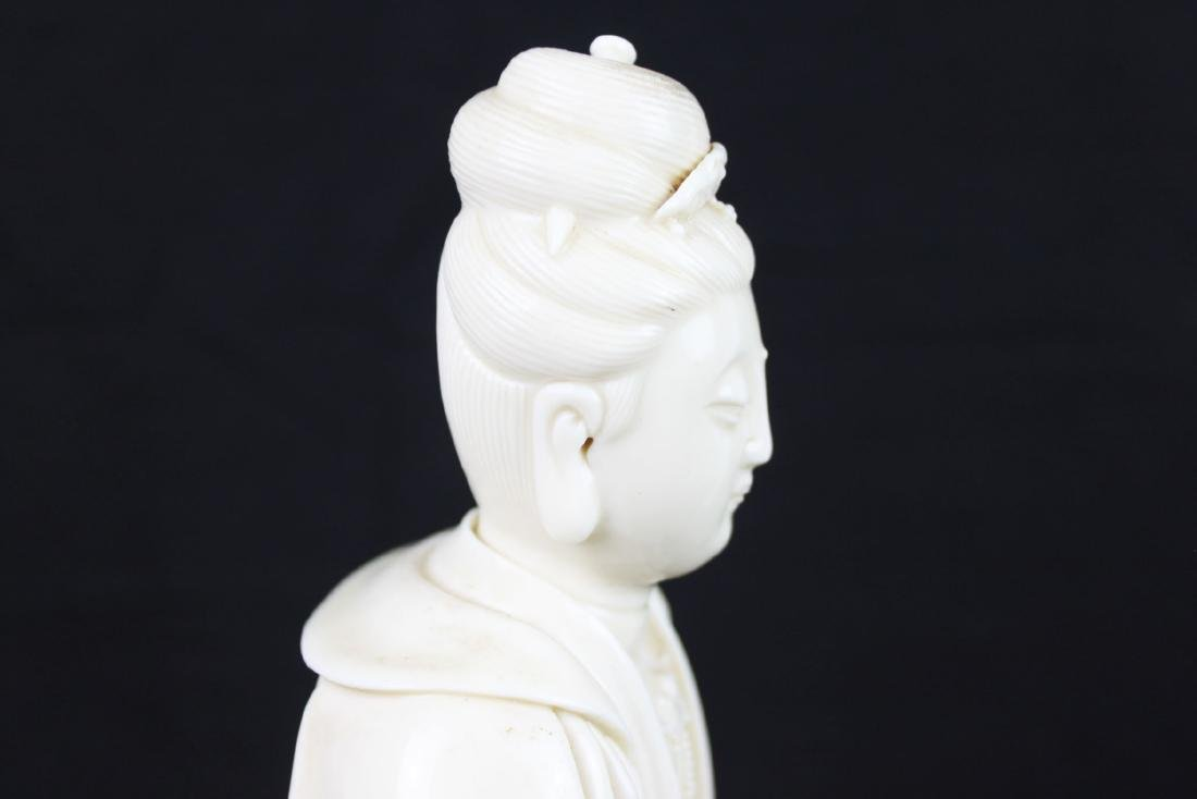 Hand Carved Guanyin Statue White Porcelain - 10