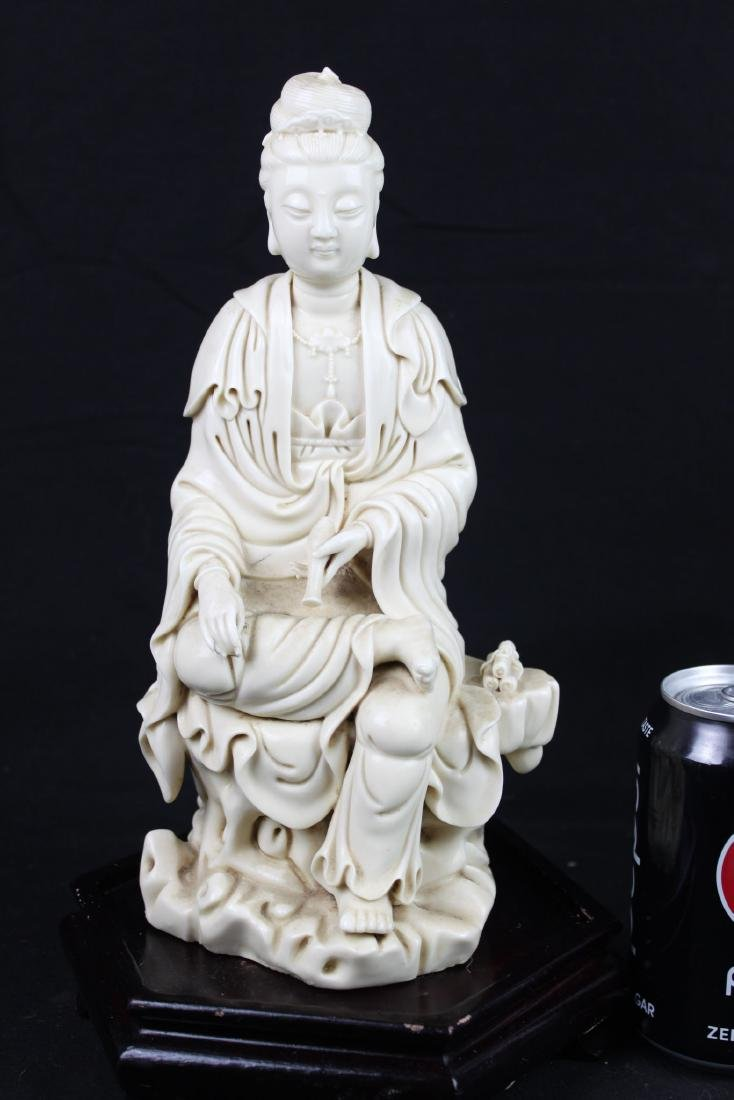 Hand Carved Guanyin Statue White Porcelain