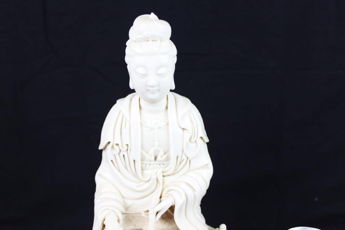 Hand Carved Guanyin Statue White Porcelain - 3