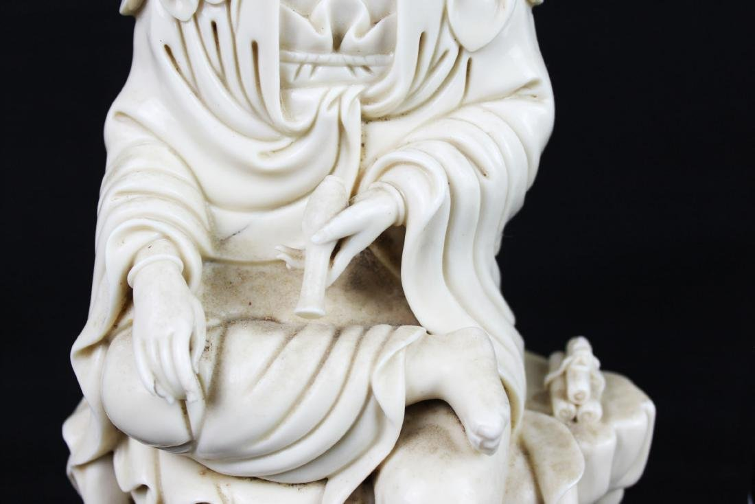 Hand Carved Guanyin Statue White Porcelain - 4