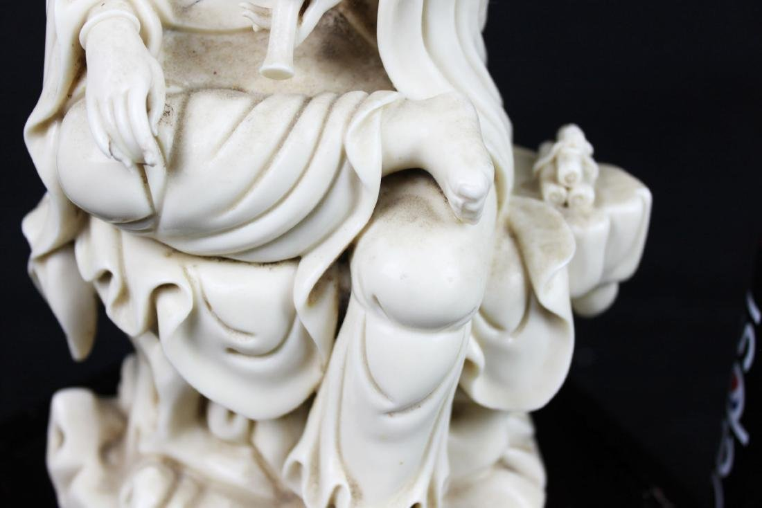 Hand Carved Guanyin Statue White Porcelain - 5