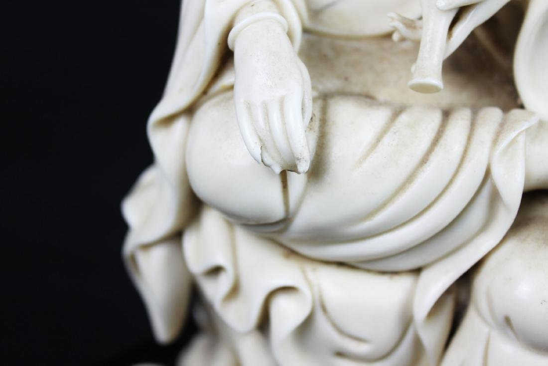 Hand Carved Guanyin Statue White Porcelain - 6