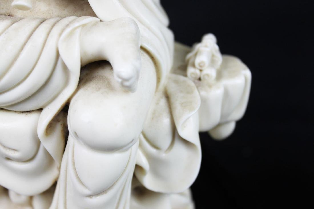 Hand Carved Guanyin Statue White Porcelain - 7