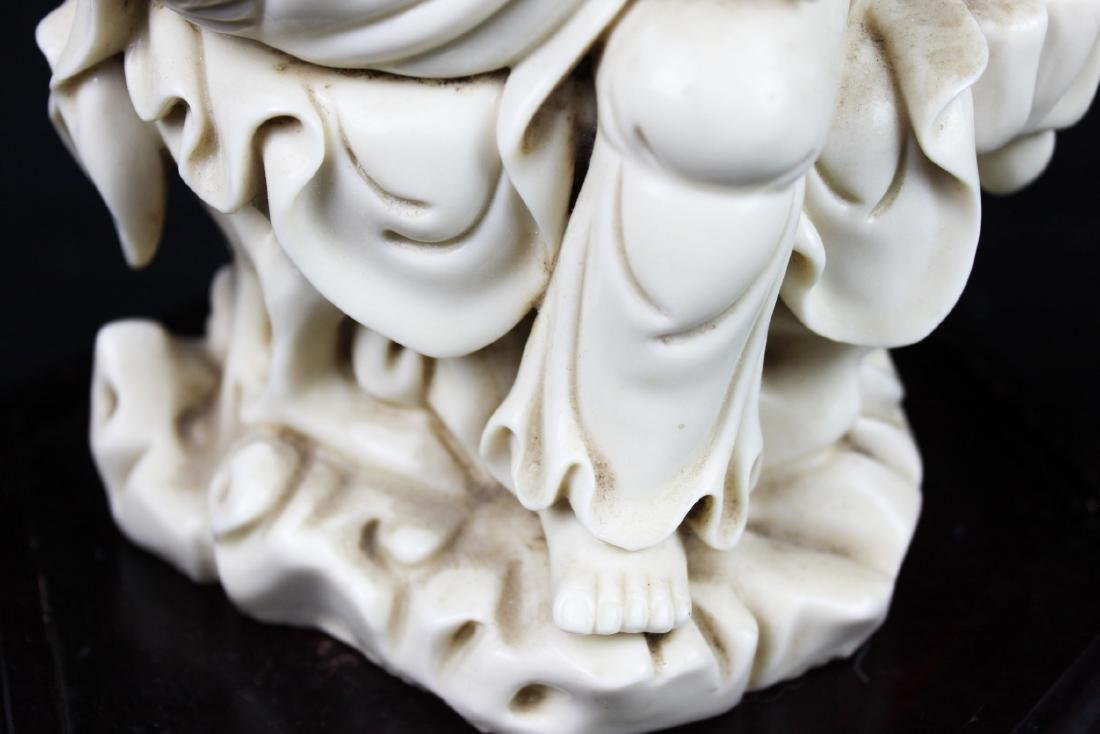Hand Carved Guanyin Statue White Porcelain - 8