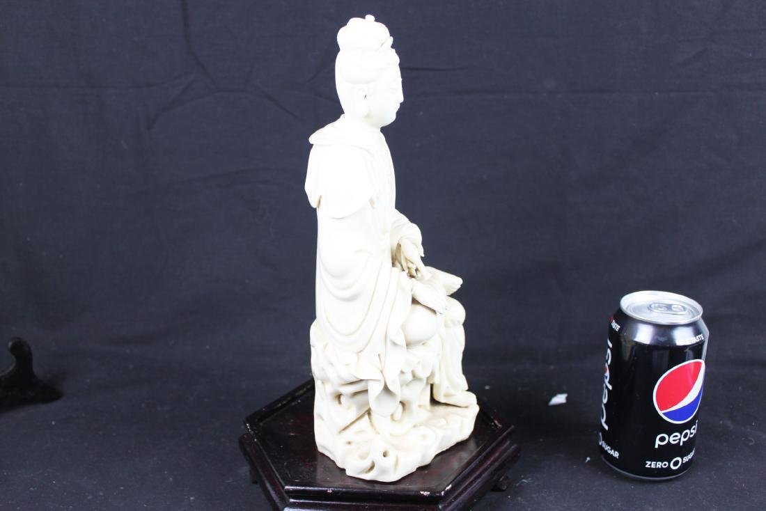 Hand Carved Guanyin Statue White Porcelain - 9