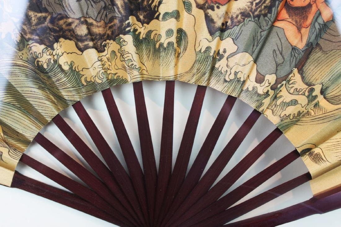 Chinese Folding Fan framed in woodbox - 7