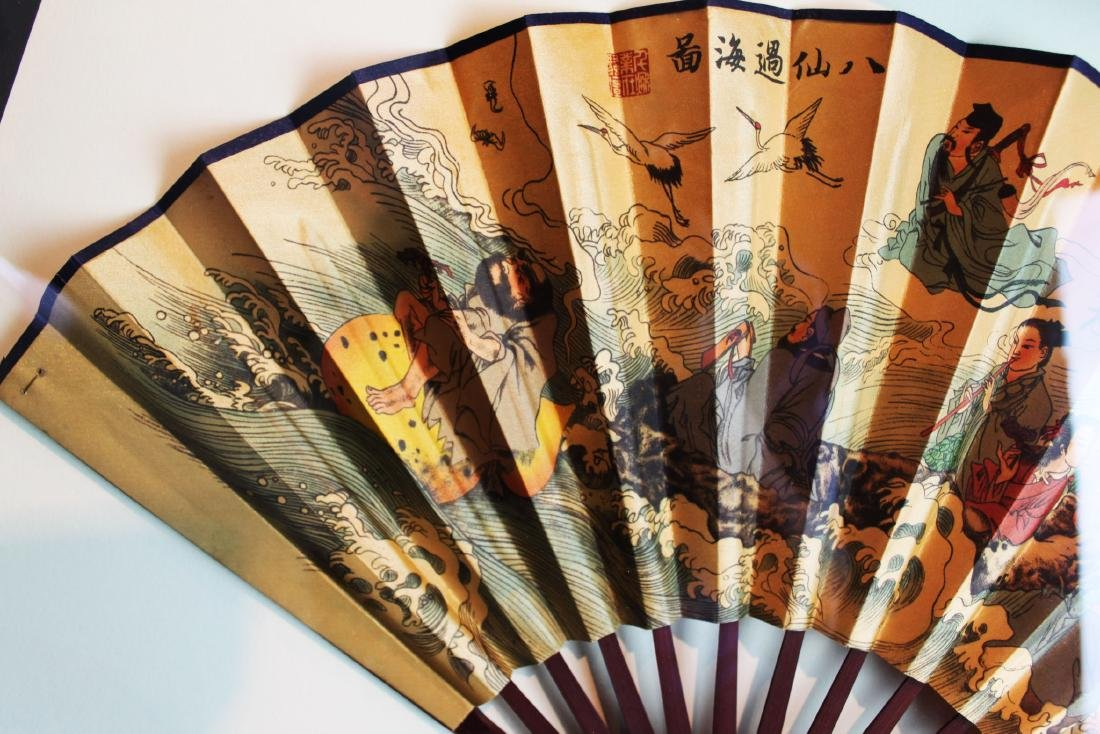 Chinese Folding Fan framed in woodbox - 8