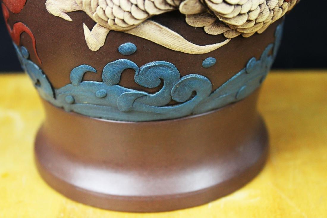 Antique Chinese Yixing Zisha Vase - 6