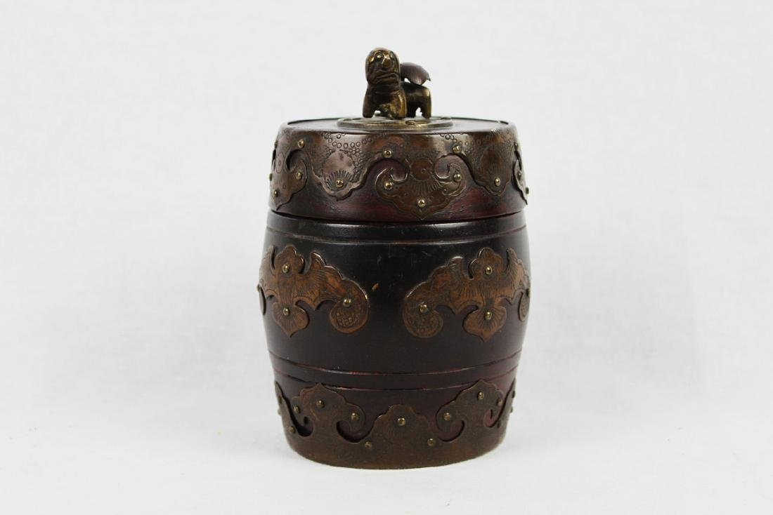 Antique Chinese Brass Covered Wooden Container w/