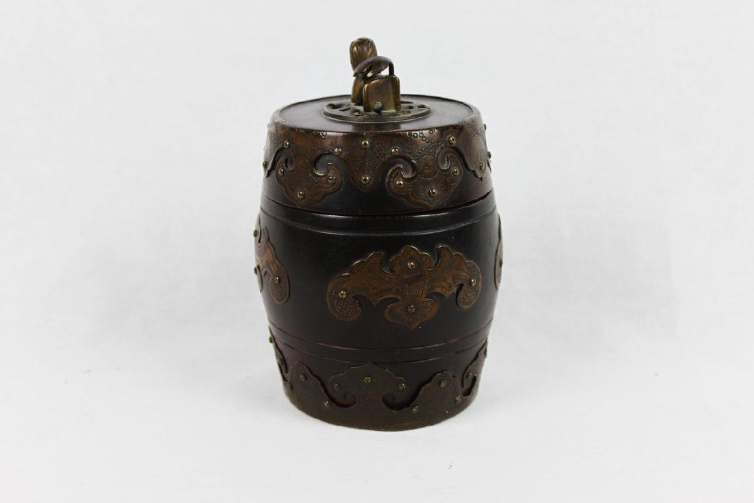 Antique Chinese Brass Covered Wooden Container w/ - 2