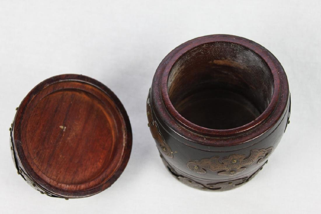 Antique Chinese Brass Covered Wooden Container w/ - 4