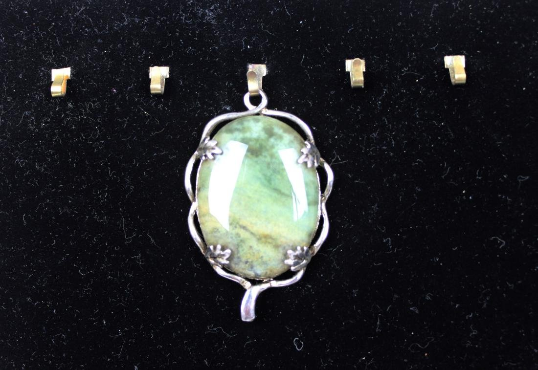 Chinese Green Khotan Jade Necklace Pendant - 2