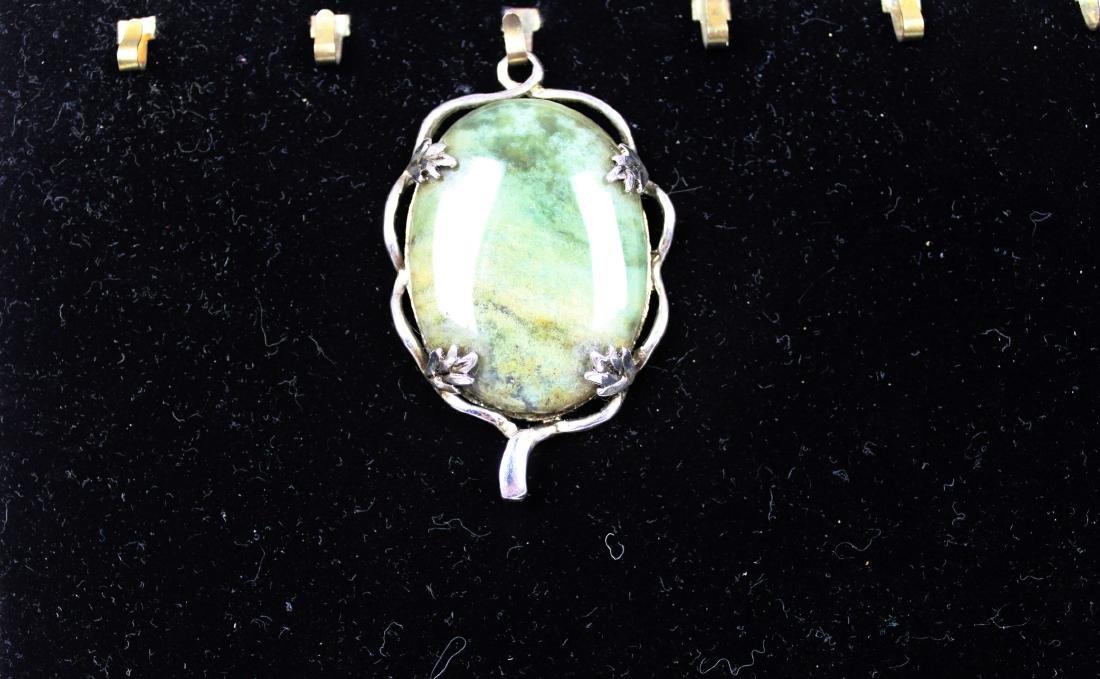 Chinese Green Khotan Jade Necklace Pendant - 3
