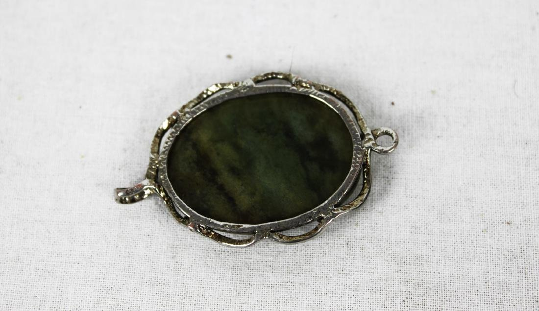 Chinese Green Khotan Jade Necklace Pendant - 5
