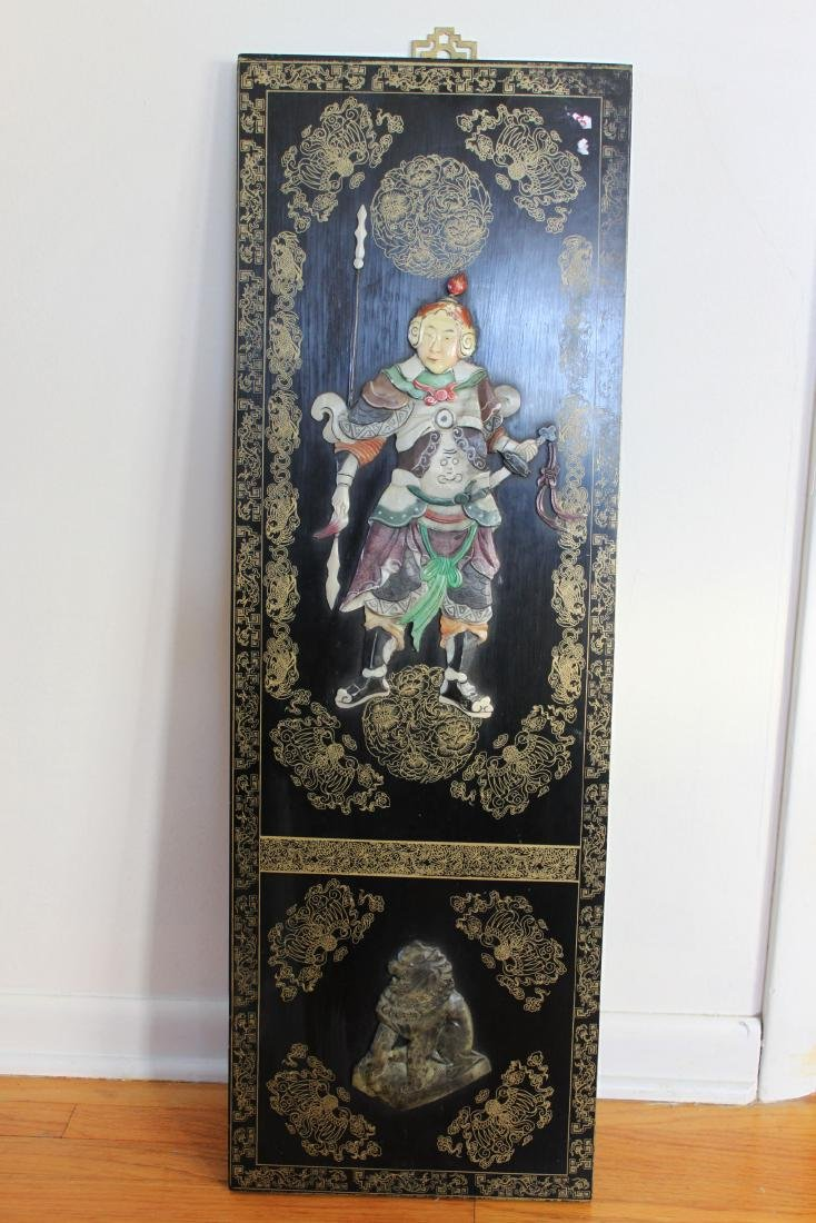 Antique Hand Carved Jade on Wood Panel
