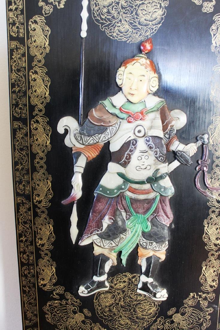 Antique Hand Carved Jade on Wood Panel - 4