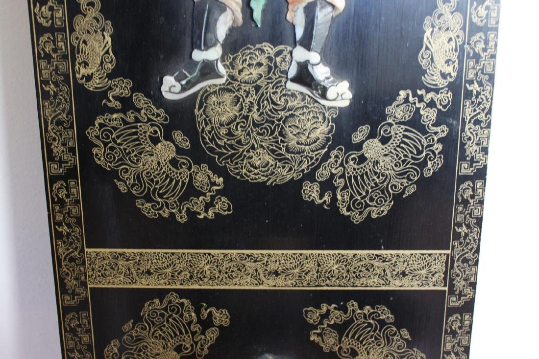 Antique Hand Carved Jade on Wood Panel - 5