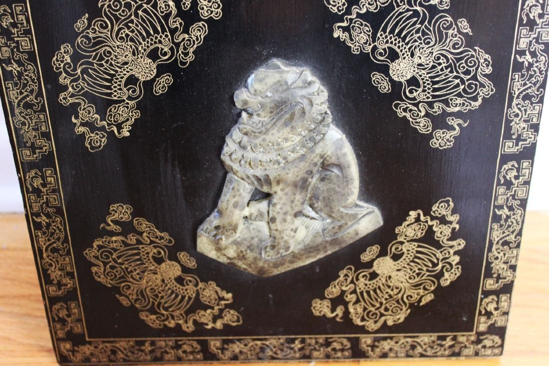 Antique Hand Carved Jade on Wood Panel - 6