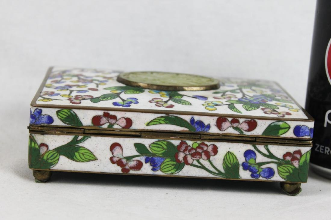 Antique Chinese Cloisonne Jewlery box w/ Jade on top - 2