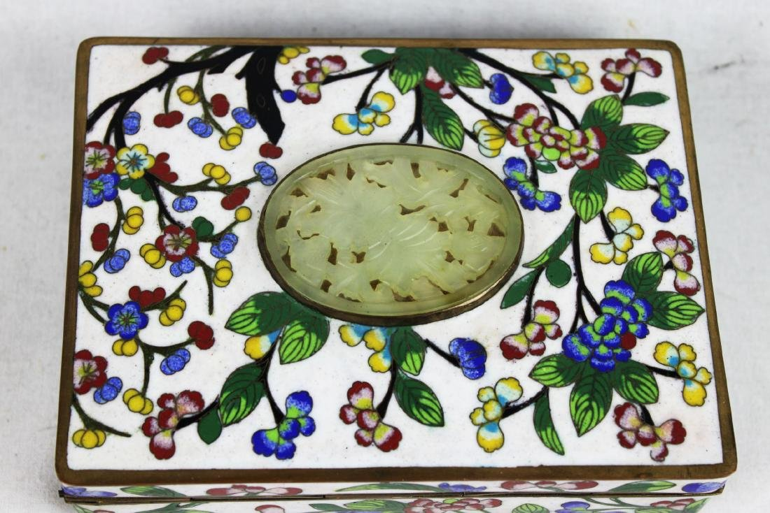 Antique Chinese Cloisonne Jewlery box w/ Jade on top - 3