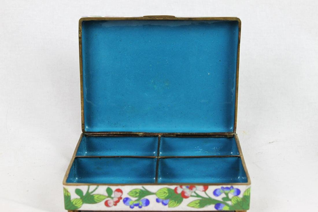 Antique Chinese Cloisonne Jewlery box w/ Jade on top - 5
