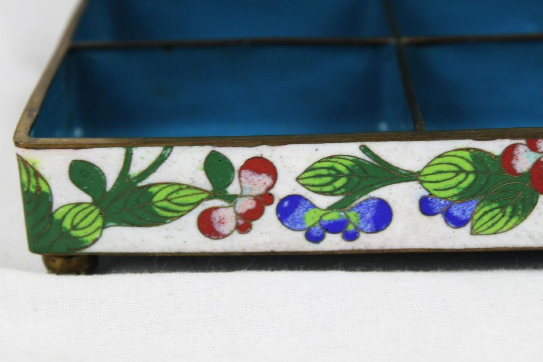 Antique Chinese Cloisonne Jewlery box w/ Jade on top - 6