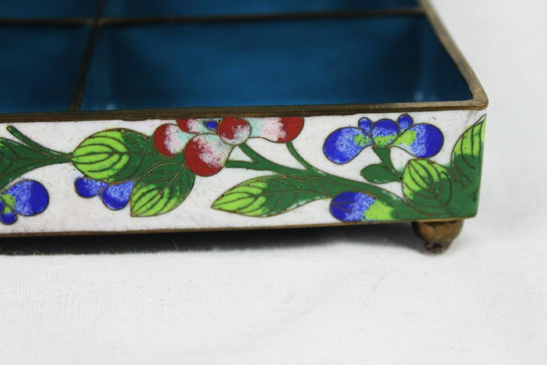 Antique Chinese Cloisonne Jewlery box w/ Jade on top - 7