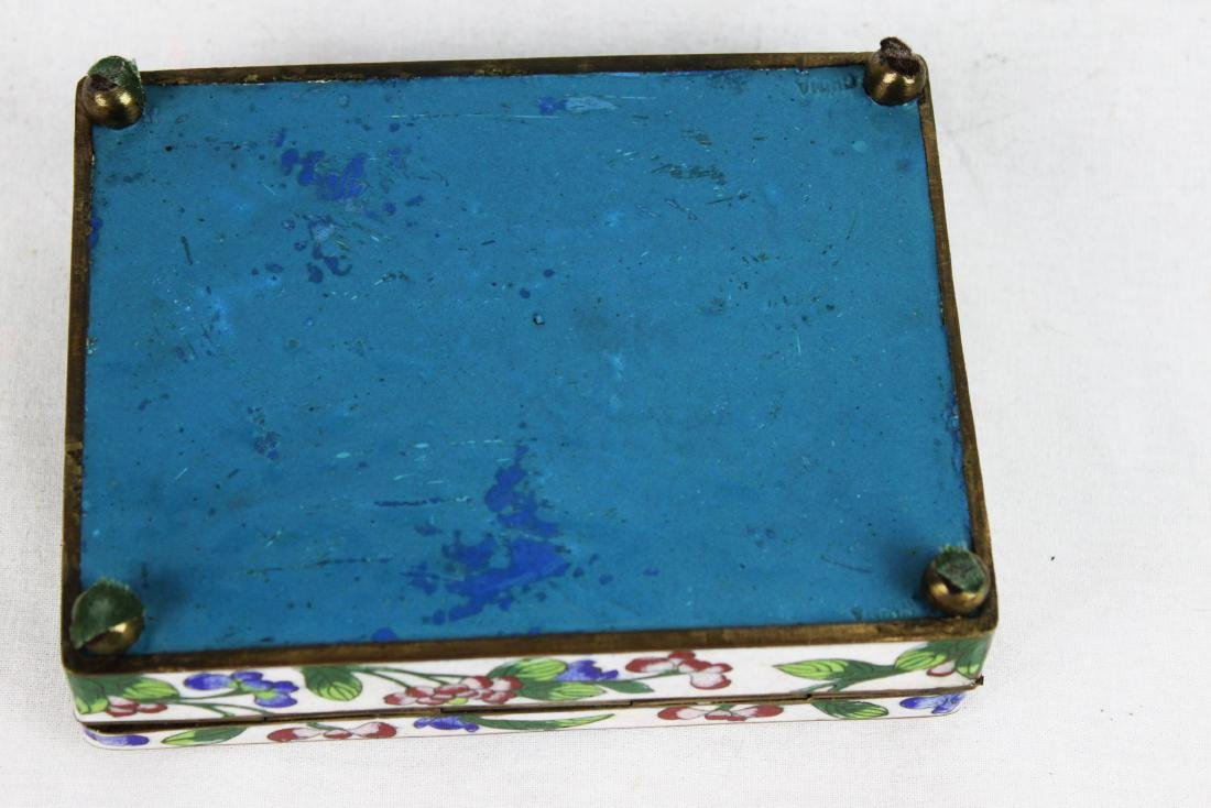 Antique Chinese Cloisonne Jewlery box w/ Jade on top - 8