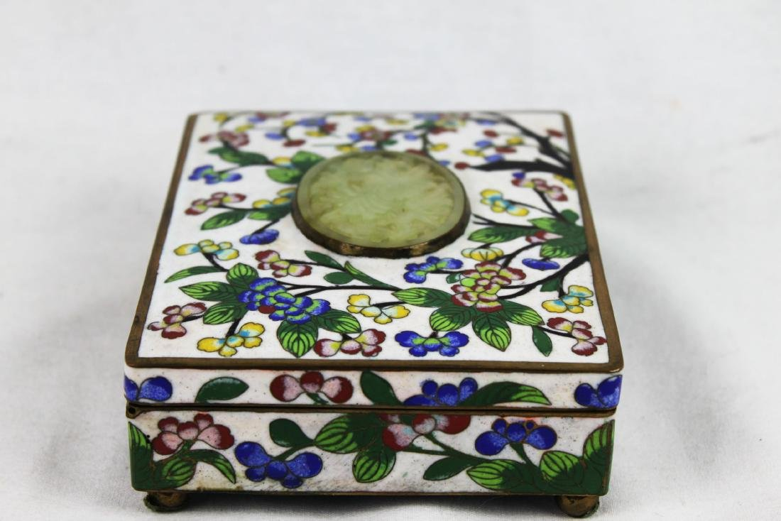 Antique Chinese Cloisonne Jewlery box w/ Jade on top - 9
